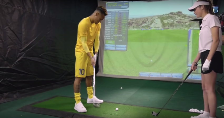 Barcelona star Neymar attempts to play golf for the first time.